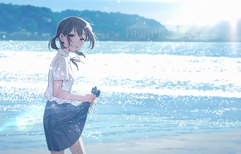 Фото обои море, школьница, счастливая