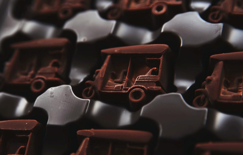 Фото обои макро, шоколад, конфеты