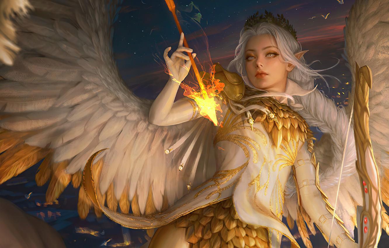 Фото обои эльф, позолота, диадема, в небе, angel, оперение, белые крылья, остроухая, девушка-ангел, длинные белые волосы, лук …