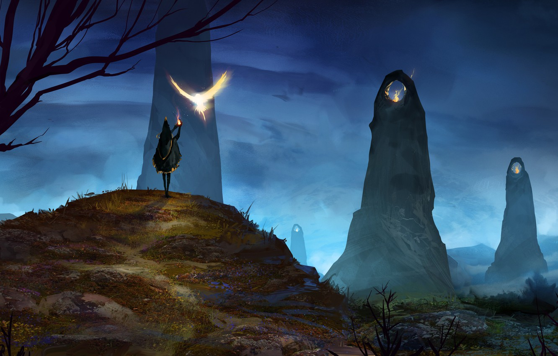 Фото обои камни, птица, магия, человек, крылья, фэнтези, арт