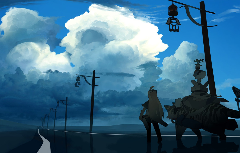 Фото обои тигр, Небо, Облака, Девушка, Арт, akitsu taira