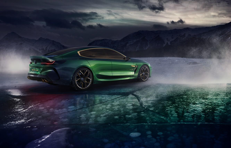 Фото обои горы, тучи, купе, лёд, BMW, сзади, сбоку, 2018, M8 Gran Coupe Concept