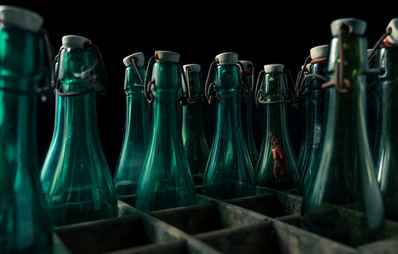 Фото обои бутылки, ящик, натурализм