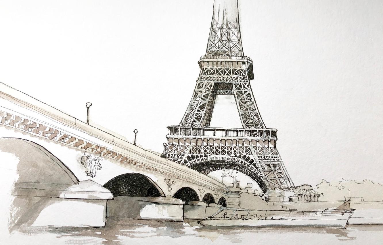 Фото обои рисунок, Париж, акварель, Эйфелева башня, городской пейзаж, Йенский мост