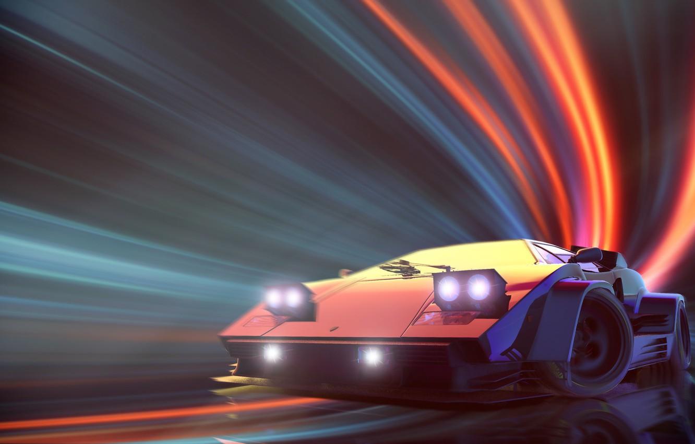 Фото обои Lamborghini, Neon, Countach, Lamborghini Countach, Synth, Retrowave, Synthwave, New Retro Wave, Videogame, Futuresynth, Синтвейв, Ретровейв, …