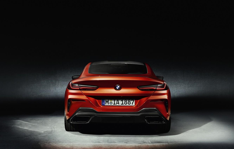 Фото обои оранжевый, фон, купе, BMW, вид сзади, Coupe, 2018, 8-Series, 8er, G15