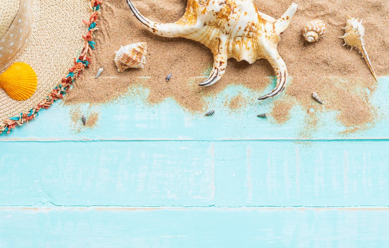 Фото обои песок, пляж, лето, доски, звезда, ракушки, summer, beach, wood, sand, starfish, seashells