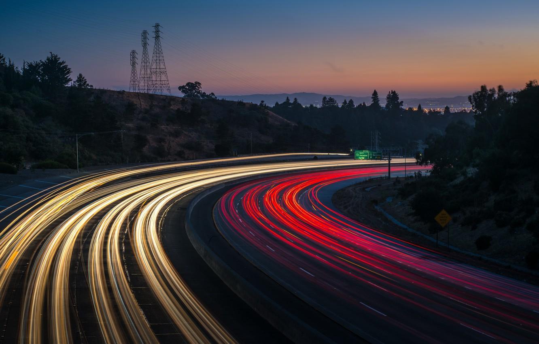 Обои дорога, ночь, огни. Разное foto 10