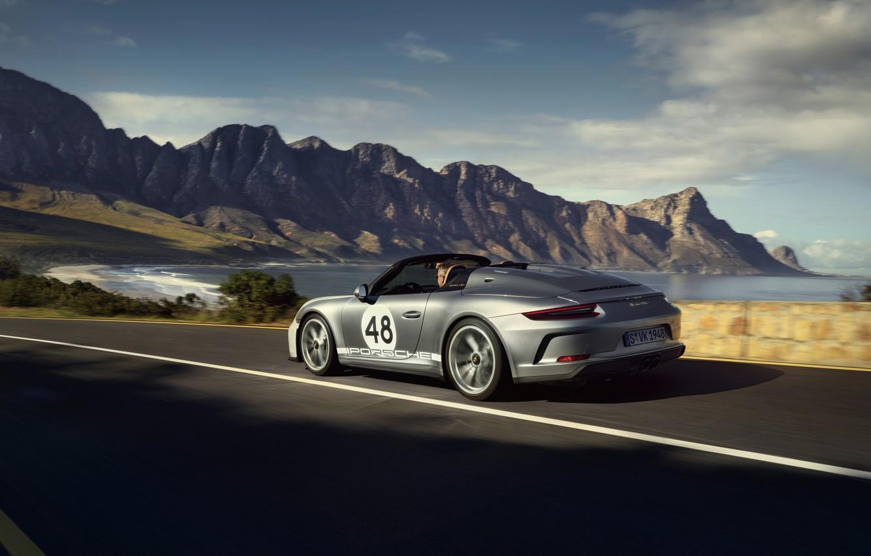 Фото обои 911, Porsche, Speedster, 991, на дороге, 2019, серо-серебристый, 991.2