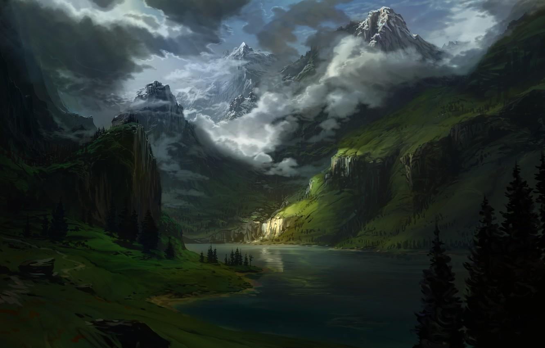 Фото обои trees, landscape, nature, water, art, clouds, lake, snow, Mountains, digital art, artwork, sun rays, snowy …