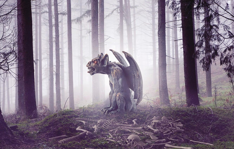 Фото обои лес, деревья, туман, демон, кости, черепа, гаргулья