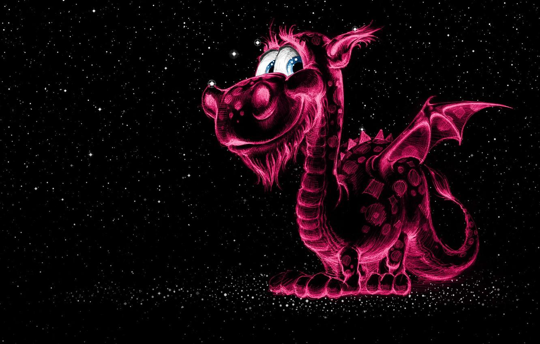 Фото обои дракон, рисунок, Космос, фЭнтези