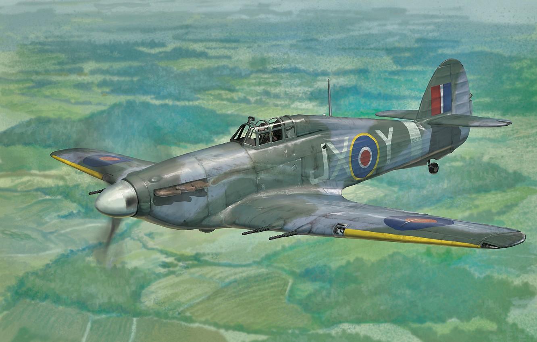 Фото обои art, airplane, aviation, Hawker Hurricane, ww2