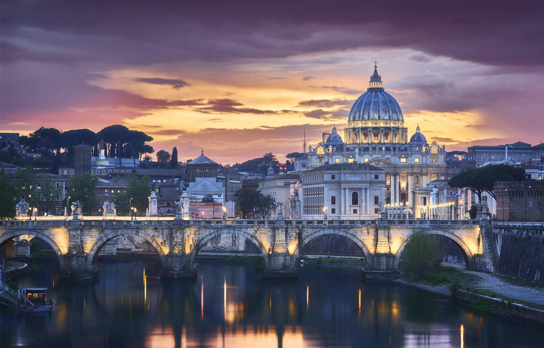 Фото обои мост, город, здания, вечер, освещение, Рим, Италия, собор, Ватикан