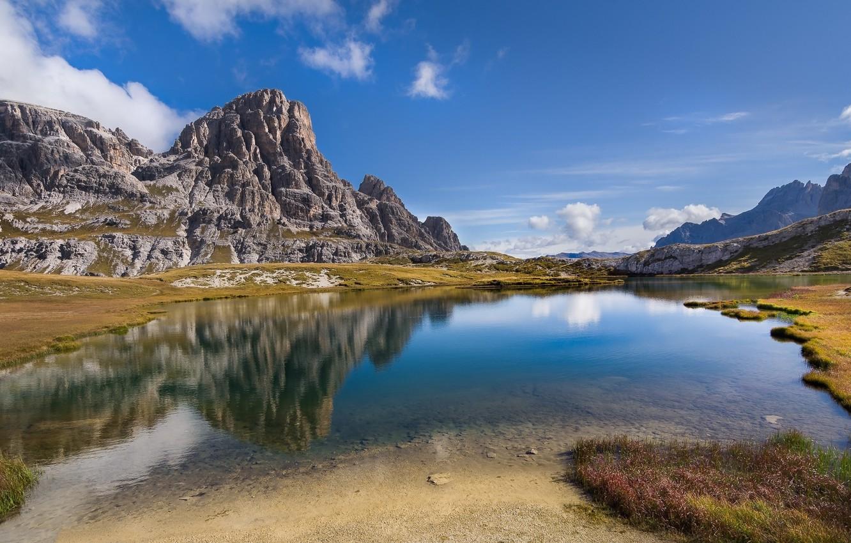 Фото обои лес, небо, вода, пейзаж, горы, природа, озеро, красота