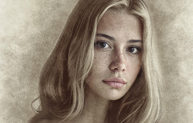 Фото обои девушка, фотошоп, картинка, карандашный рисунок