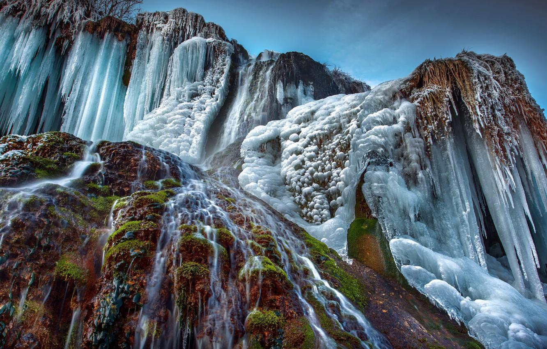 Фото обои зима, природа, водопад, лёд, Robert Didierjean