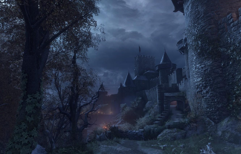 Фото обои небо, ночь, замок, a plague tale: innocence