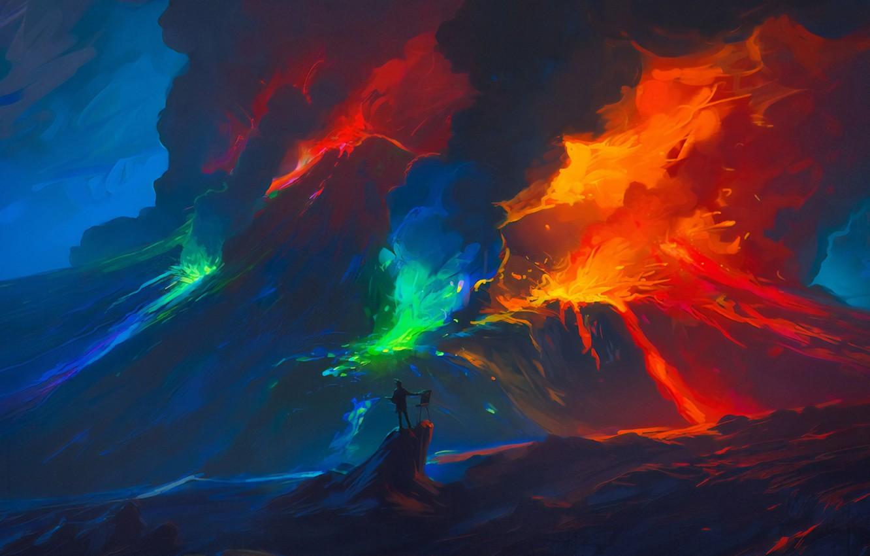 Фото обои природа, огонь, дым, вулкан, извержение, fire, smoke, nature, мольберт, volcano, eruption, одинокая фигура, easel, lone …