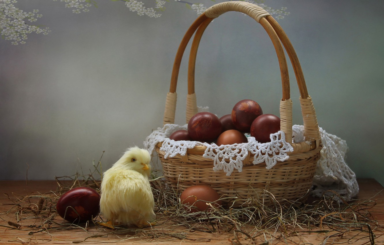 Фото обои праздник, корзина, яйца, Пасха, цыплёнок, салфетка, крашенки, Ковалёва Светлана, Светлана Ковалёва