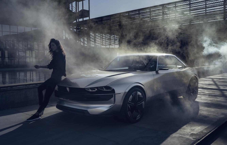 Фото обои купе, concept, Пежо, концепт, Peugeot, электромобиль, Peugeot e-Legend