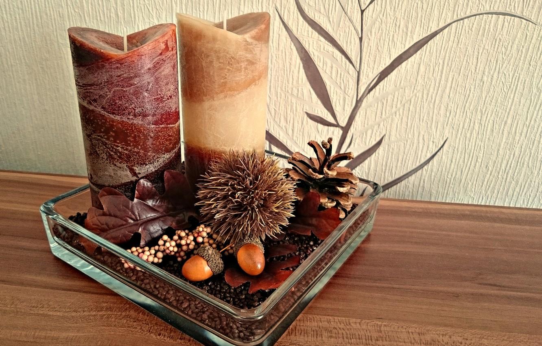 Фото обои осень, интерьер, свечи, декор