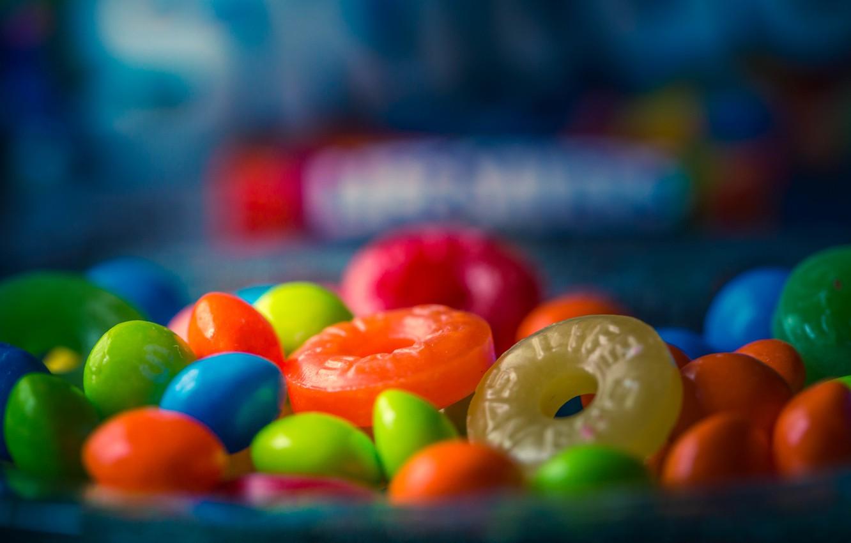 Фото обои макро, конфеты, сладости, леденцы, боке, драже