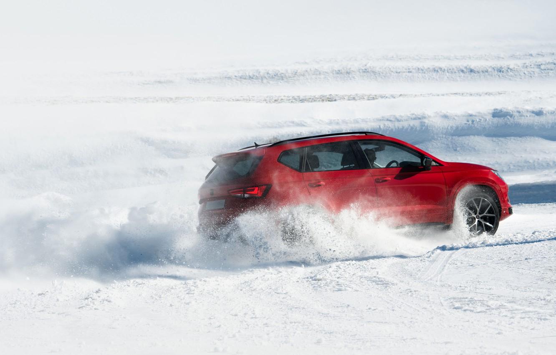 Фото обои снег, движение, SUV, Seat, Cupra, Ateca, 2019