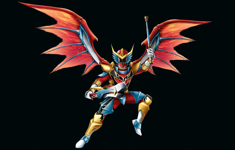 Фото обои крылья, костюм, черный фон, wings, Power Rangers, Red Dragon Fire Ranger