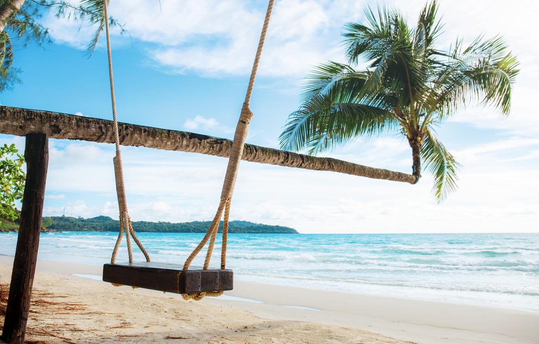 Фото обои песок, море, пляж, лето, пальмы, summer, beach, sea, sand, paradise, palms, tropical