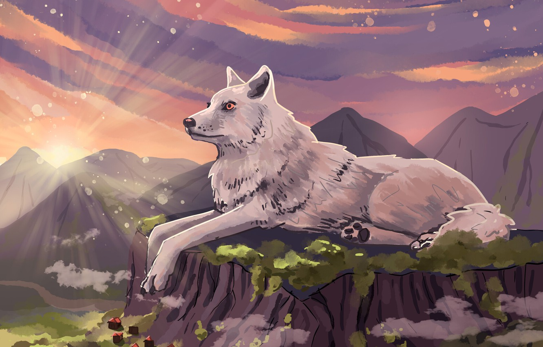 Фото обои солнце, лучи, пейзаж, горы, река, графика, волк, арт, иллюстрация