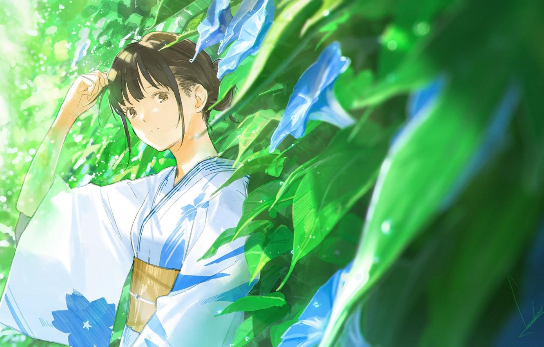 Фото обои листья, капли, японка, кимоно, чёлка, вьюнки, летний дождь, by Loundraw
