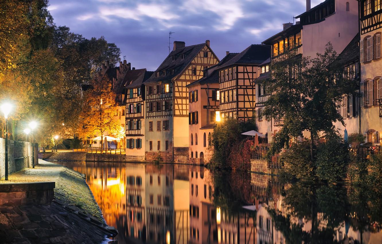 Фото обои река, Франция, дома, вечер, Страсбург