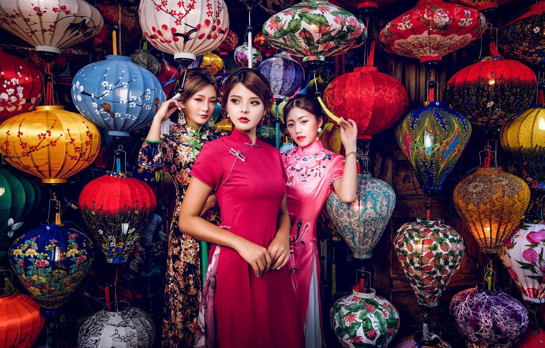 Фото обои стиль, девушки, трио, модели, фонарики, азиатки