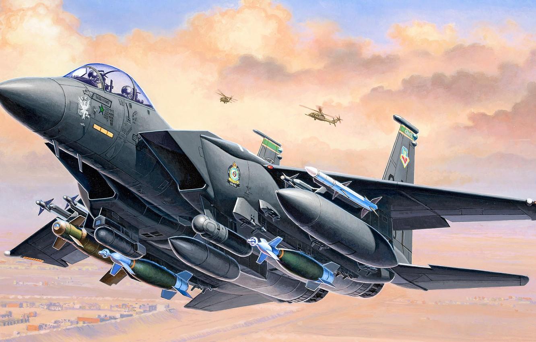 Фото обои США, истребитель-бомбардировщик, F-15E, Strike Eagle, McDonnell Douglas, американский двухместный