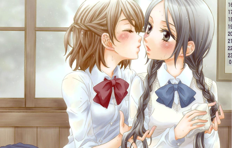 Фото обои косички, румянец, бант, школьницы, сумки, art, смущение, почти поцелуй, белая блузка, две девочки, Milk Morinaga