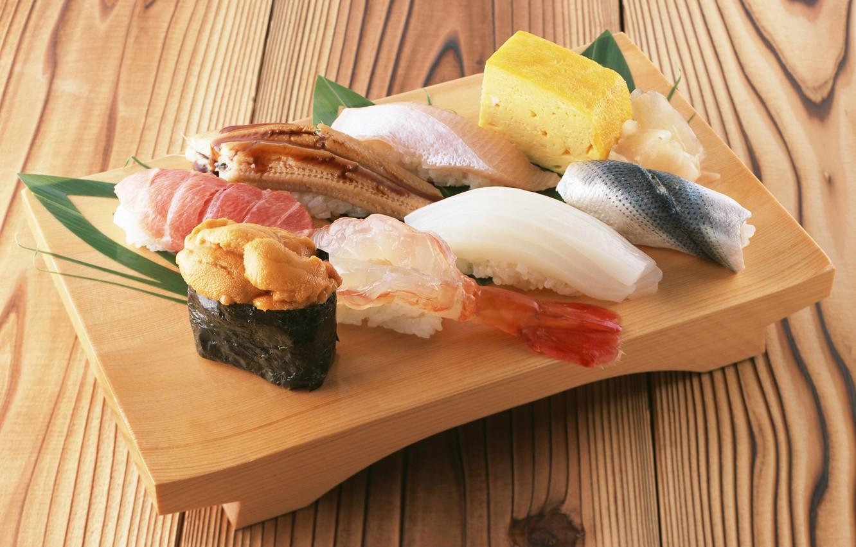 Фото обои рыба, суши, роллы, морепродукты