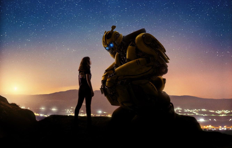 Фото обои Girl, USA, Action, Car, Golden Gate Bridge, Clouds, Sky, Stars, Robot, Bridge, Alien, Night, Francisco, ...