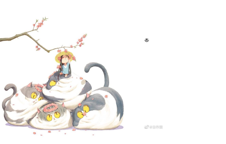 Фото обои весна, шляпа, белый фон, венок, длинные волосы, желтые глаза, маленькая девочка, ветка вишни, пучеглазик, цветение …