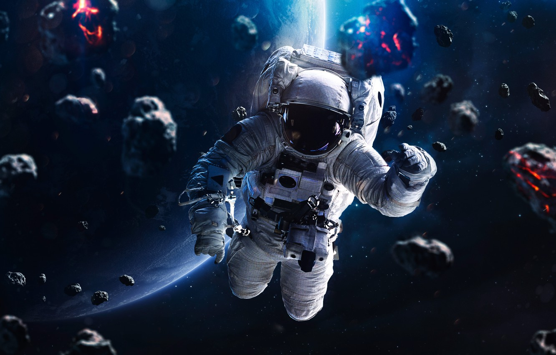 Фото обои космос, космонавт, метеорит, Blue horizon