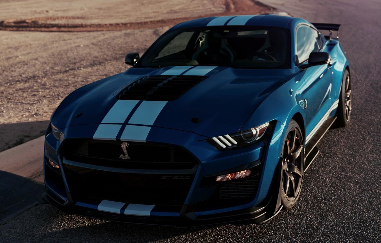 Фото обои асфальт, синий, Mustang, Ford, Shelby, GT500, 2019