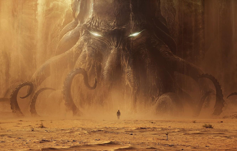 Фото обои Ктулху, Cthulhu, monster, man, sand, tentacles, dead sea, Лавкрафт, Andree Wallin