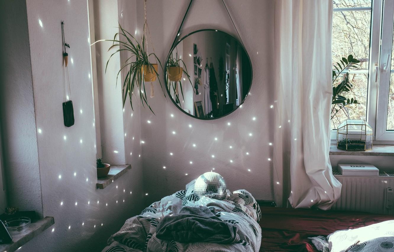 Фото обои цветок, свет, диван, шар, зеркало
