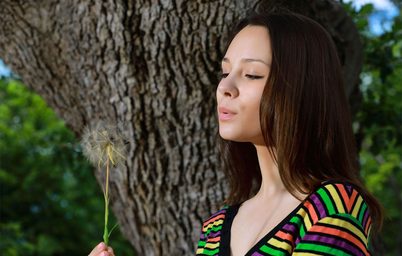 Фото обои природа, дерево, одуванчик, одежда, волосы, макияж, Alma
