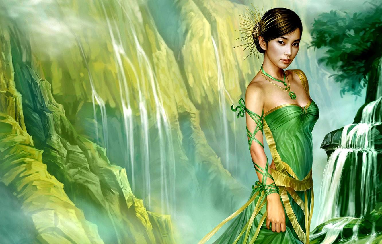 Фото обои взгляд, девушка, зелёное платье