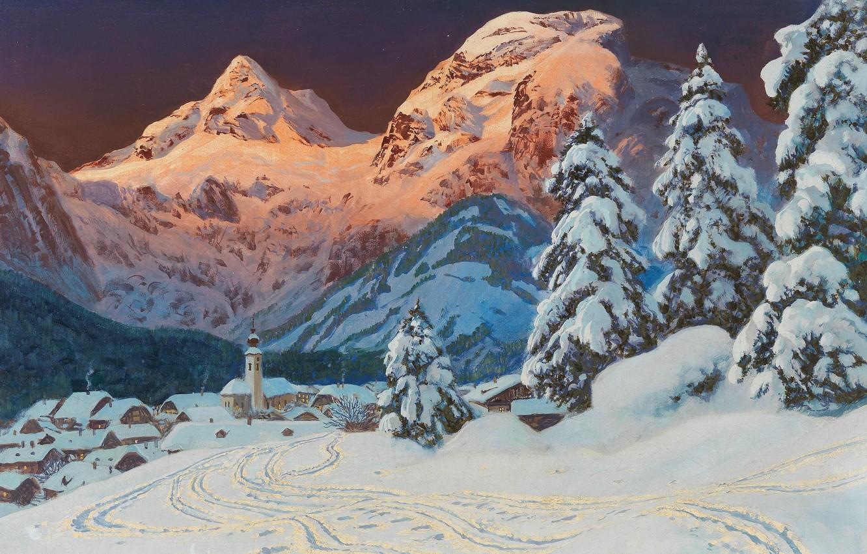 Фото обои Alois Arnegger, австрийский живописец, Austrian landscape painter, oil on canvas, Алоис Арнеггер, Зима на Лофере, …