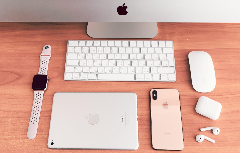 Фото обои компьютер, apple, наушники, телефон, планшет