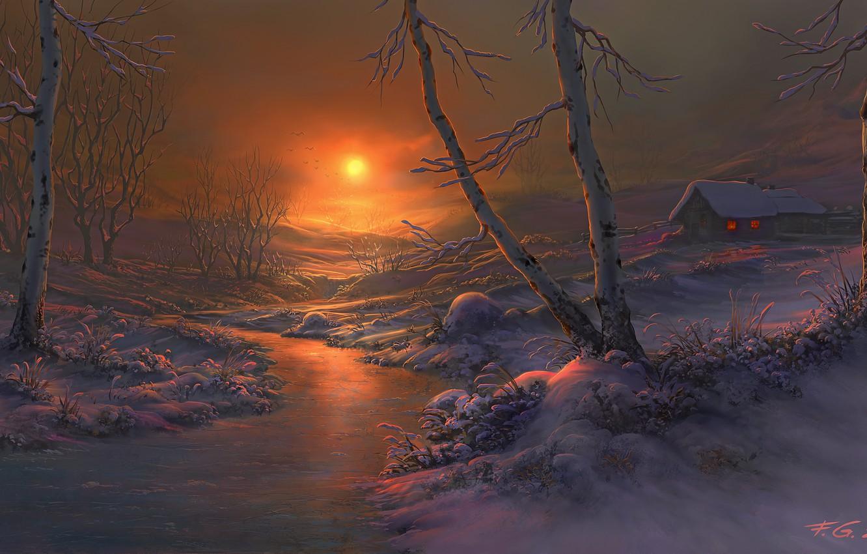 Фото обои зима, снег, закат, река, дома, вечер, арт, берёзы, Fel-X