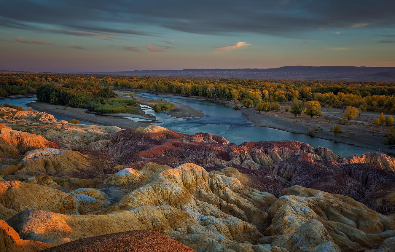Фото обои лес, горы, река, панорама