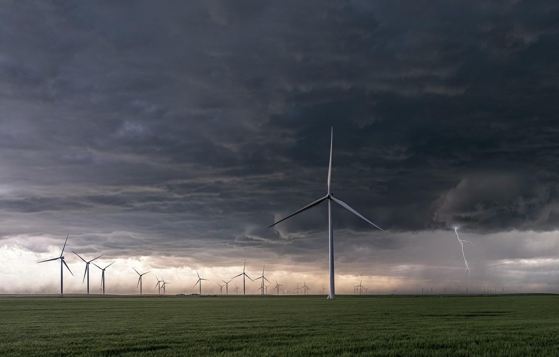Фото обои поле, тучи, ветряки